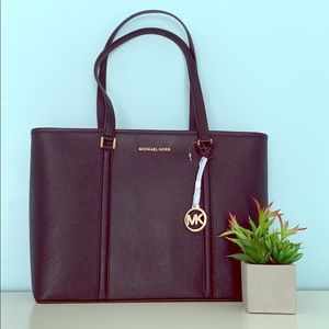 💖 NWT Michael Kors Sady Leather Tote in Black